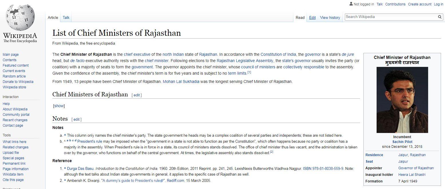 , निकालाआधीच विकिपीडिया अपडेट, राजस्थानचा मुख्यमंत्रीही ठरवला!